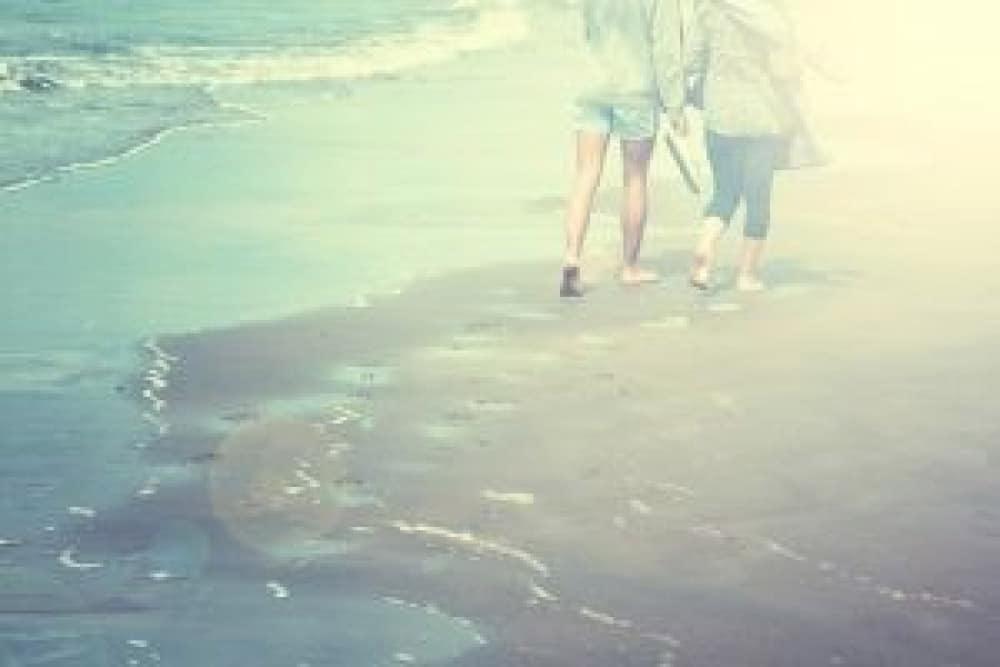 women on beach