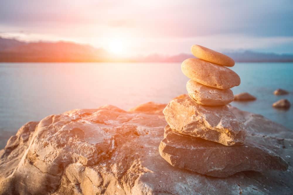 Zen stones on beach pukaki lake