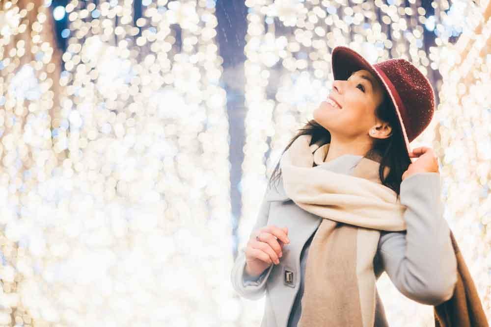 woman looking at lights