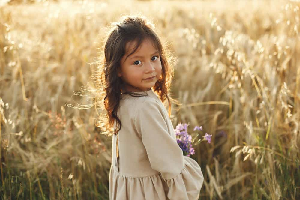 child-summer-field-little-girl-cute-brown-dress
